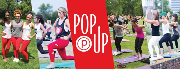 "collage of women doing yoga outside with a ""pop up"" pure barre logo in red in the center of the collage"