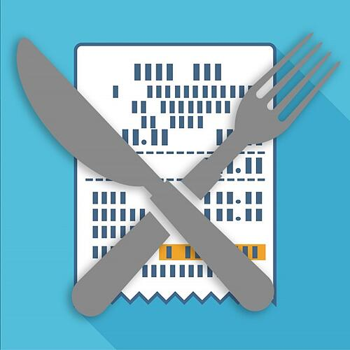 graphic of gray fork and knife overlapping each other over a blue and white background with boxes in a white square