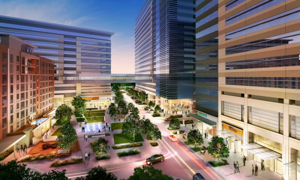 Rendering of the retail plaza at CityLine Metroplex Plaza