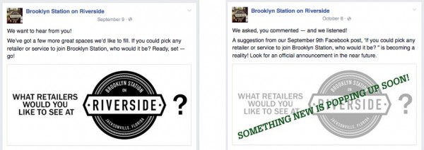 screenshots of Brooklyn Station Facebook posts