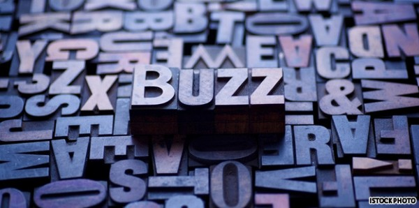 "image of word ""buzz"" that stand out in 3d amongst other letters in gray purple colors."