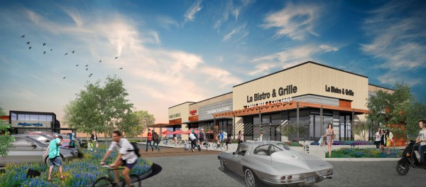 rendering of Phase 2 of CityLine progress, featuring la bistro and grill restaurant.