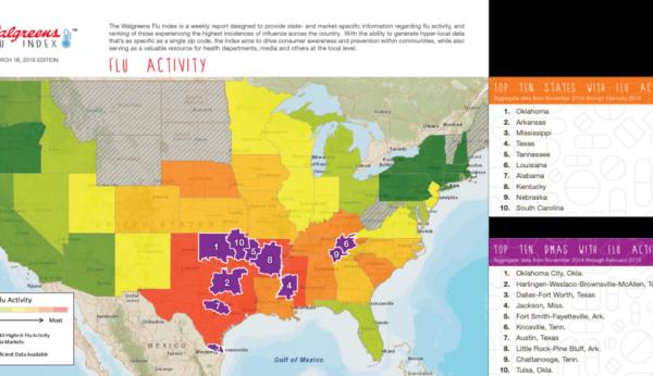 US map of flu activity.