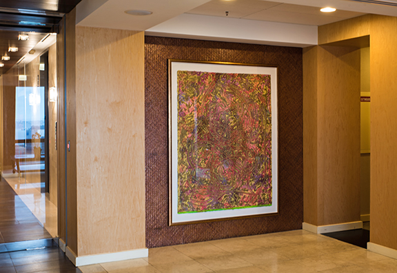 Frank Stella's 'Estoril Three II,' an engraving in the Regency Centers office