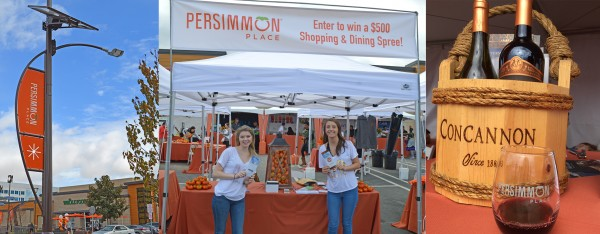 Collage of Persimmon pairing festival include a festival sign, a festival booth, and basket of wine