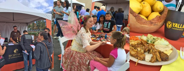 Image collage from Persimmon pairing festival featuring participants signing up at a booth, face painting, and a plate of food