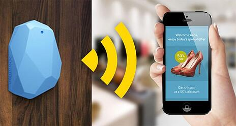 image of a blue smart beacon connecting to a cell phone to send an ad for 50% off shoes