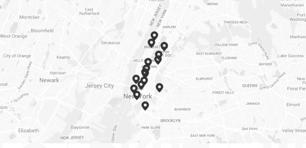 map of new york city area with black pins to designate soul cycle locations