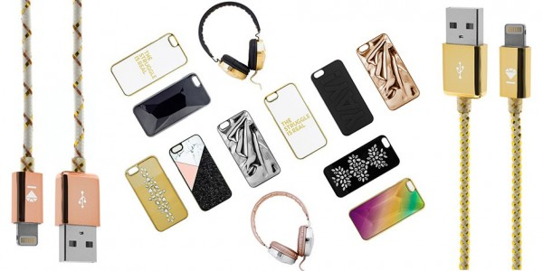 display of tech accessories from baublebar with gold, pink, and black accents. collage features phone cords, headphones, and phone cases