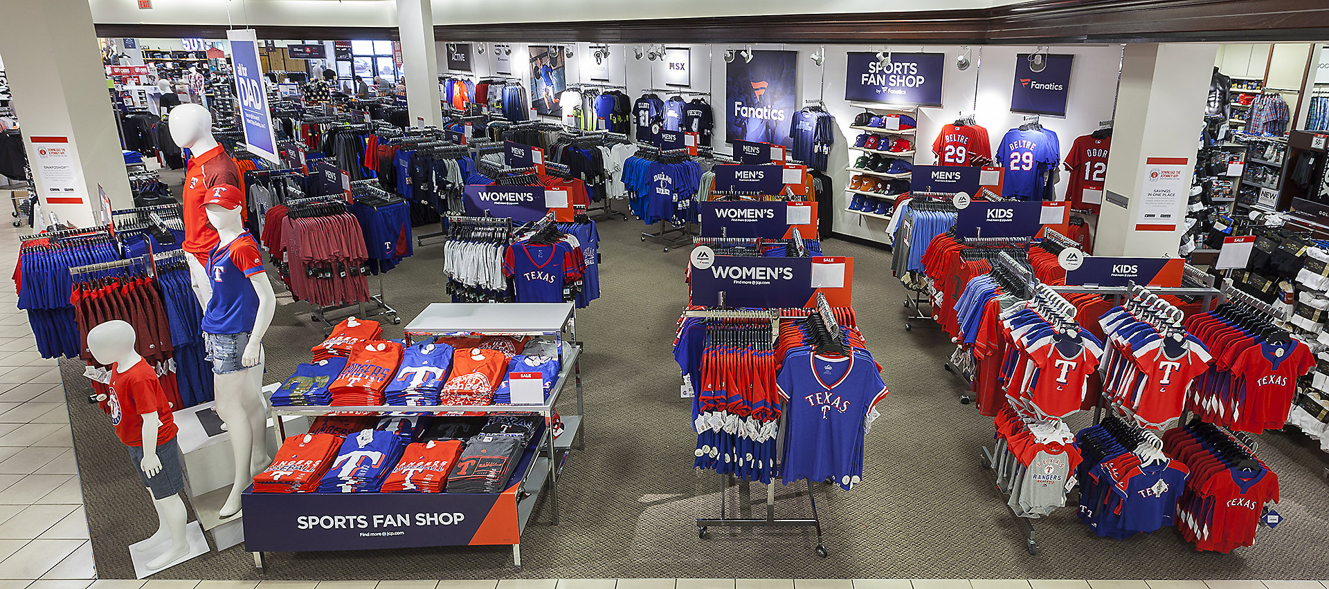 Fanatics section inside JCPenney featuring Texas team apparel