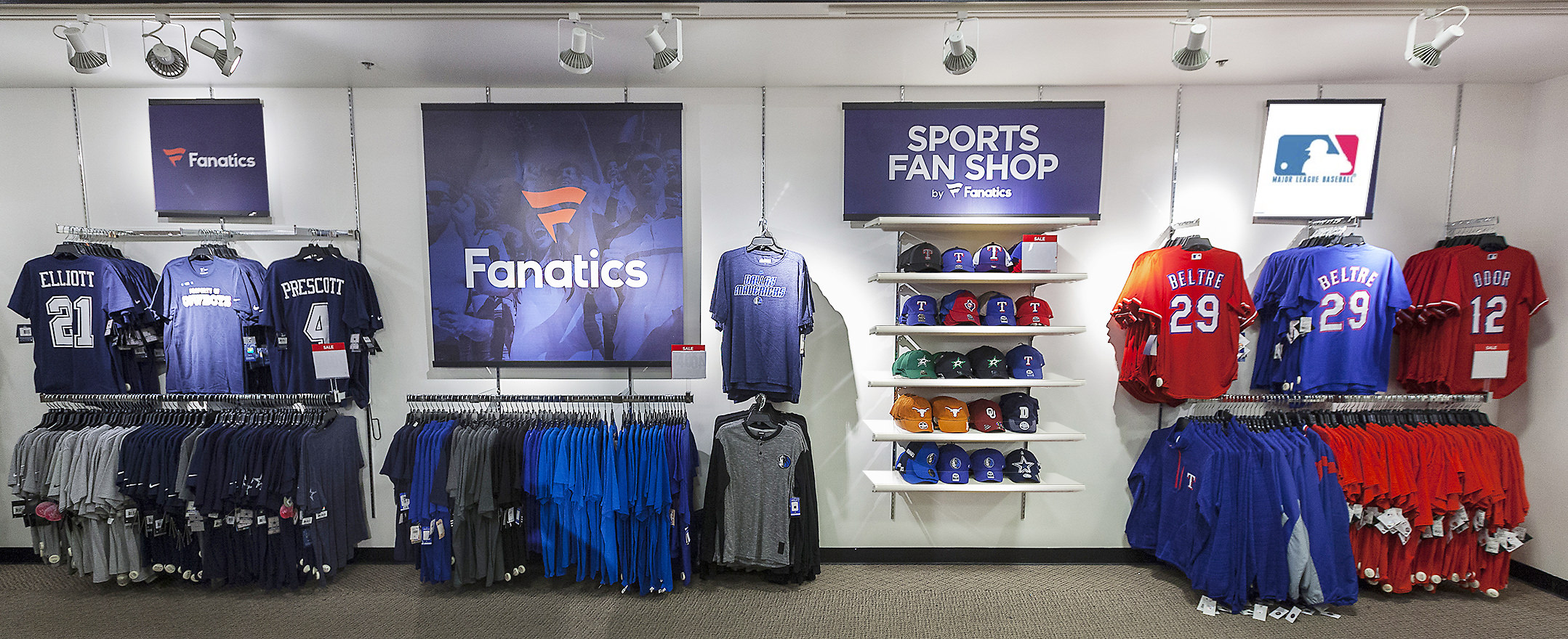 Fanatics section of sports apparel inside a JCPenney