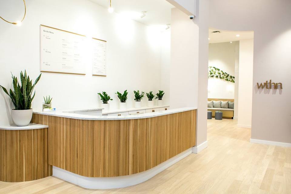 The reception desk in WTHN acupuncture studio, with green plants behind  the desk.
