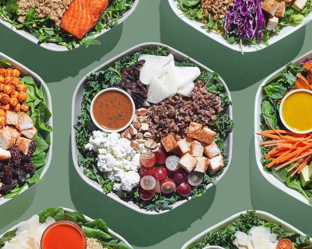 array of Sweetgreen fresh salad bowls