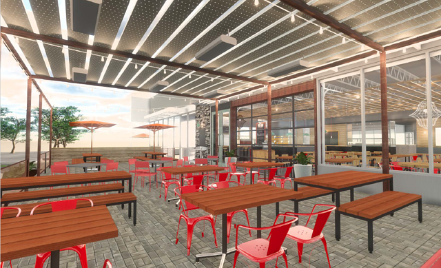 Rendering of long wooden tables and red chairs in an outside eating area at a Next Door restaurant.