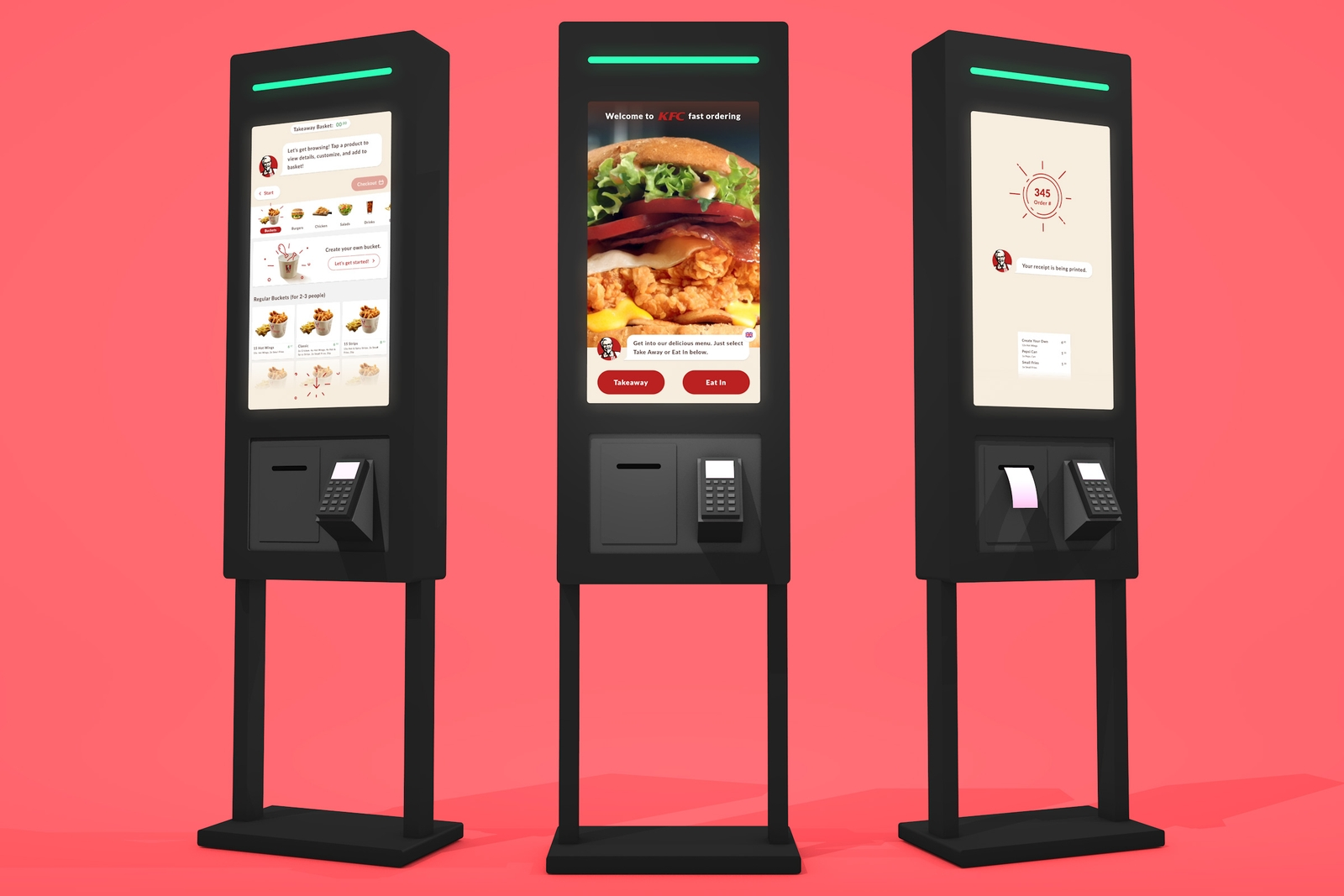 3 KFC mobile kiosks on a bright red background