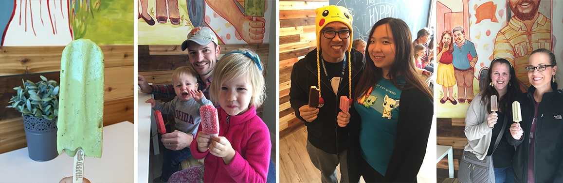 Photo collage of customers inside of Hyppo store with their new popsicles