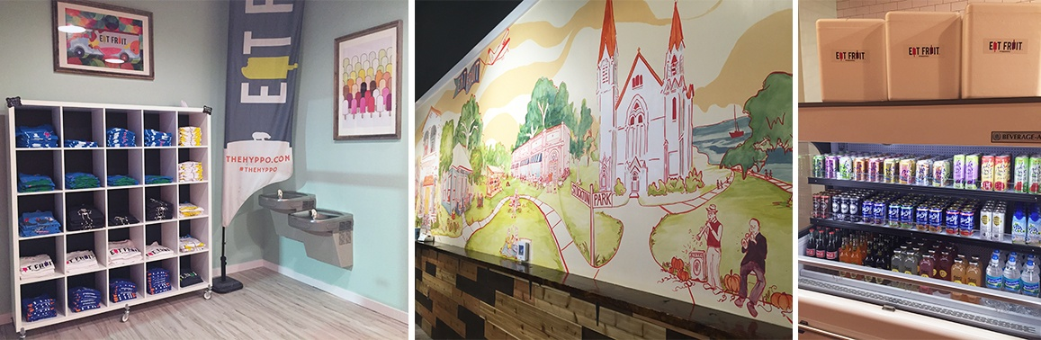 collage of a mural from within the store, the merchandise section of the store, and their open cooler