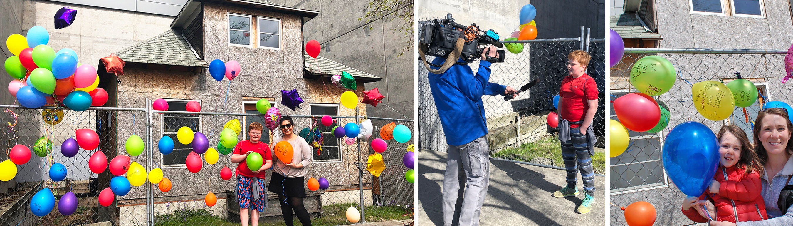 highlights from No Demo Day with bright colorful balloons and a child being interviewed.