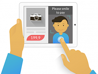 Illustration of a man using face recognition software to pay for something on his tablet.