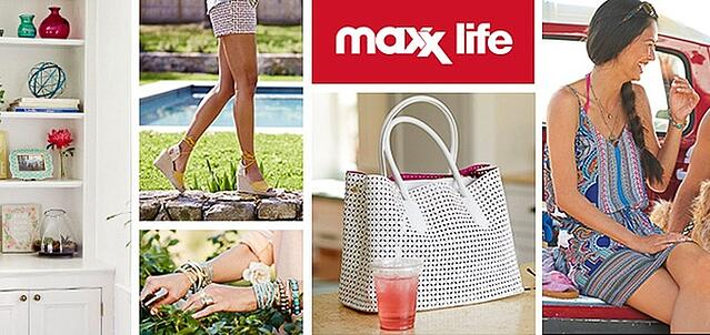 A maxx life logo and a collage of goods sold at the store, including jewelry, clothes, shoes and handbag.
