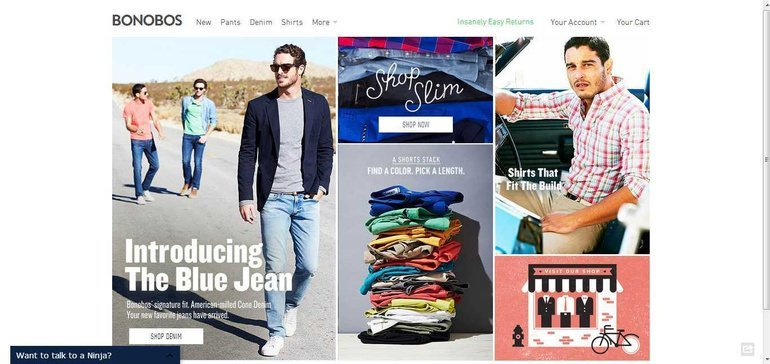 Home page of Bonobos website.