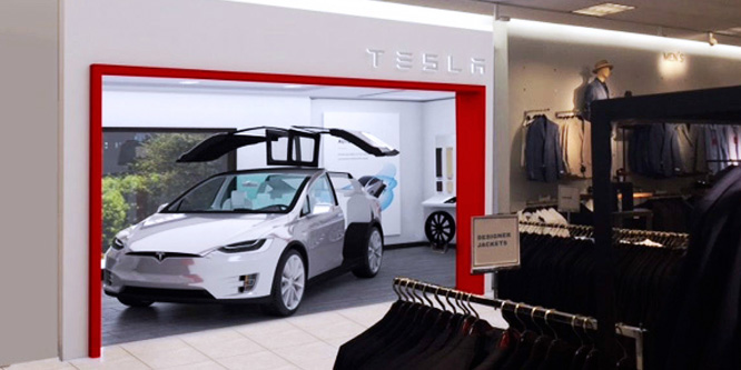 Rendering of a Tesla store and car inside a Nordstrom store.