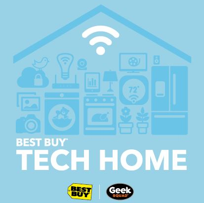 Best Buy Tech Home logo featuring a Wi-Fi symbol and various illustrations of smart home devices.