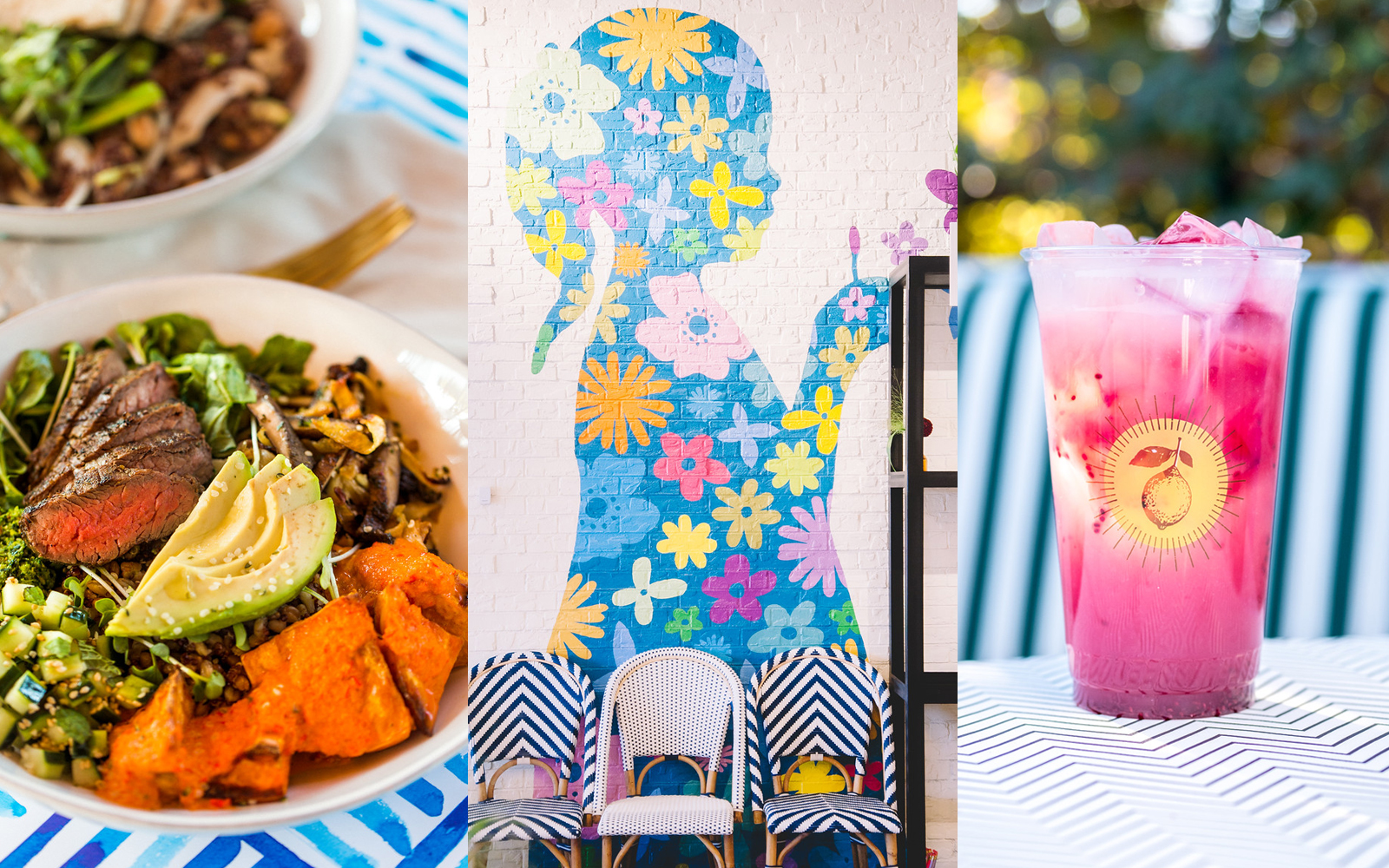 collage of steak and avocado bowl, mural of a floral girl silhouette, and bright pink iced drink