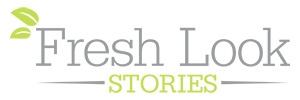 Green and grey Fresh Look Stories logo
