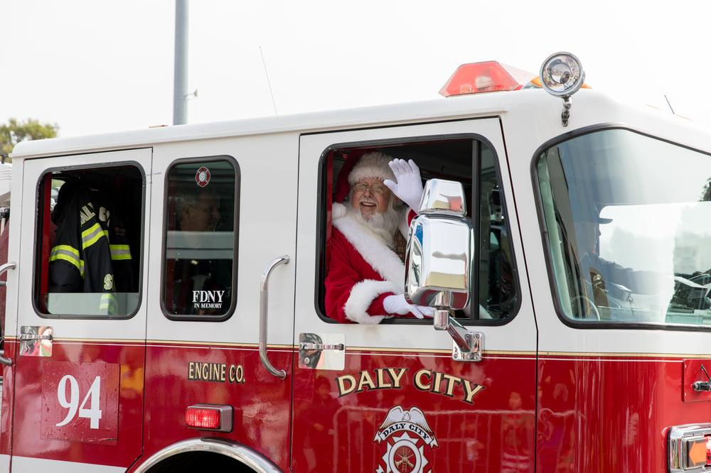 Santa in Fire Truck