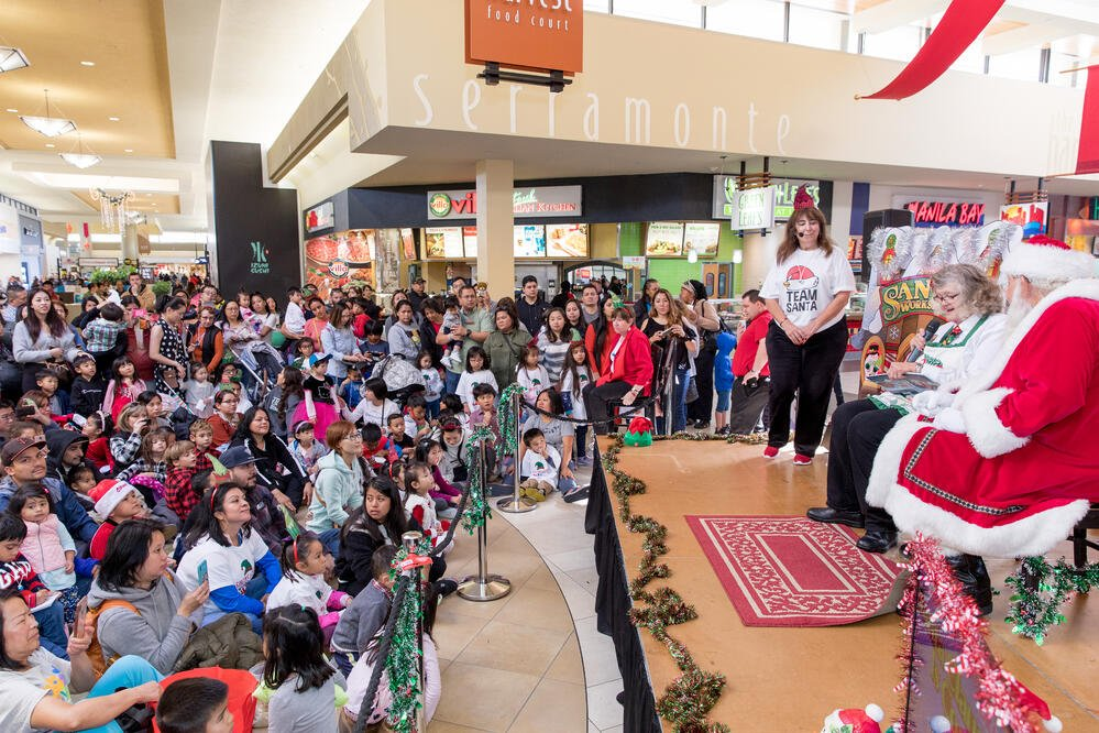 Santa and Mrs Claus with Crowd