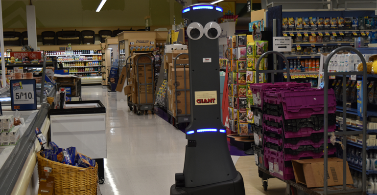 Giant Marty Robot inside of grocery store