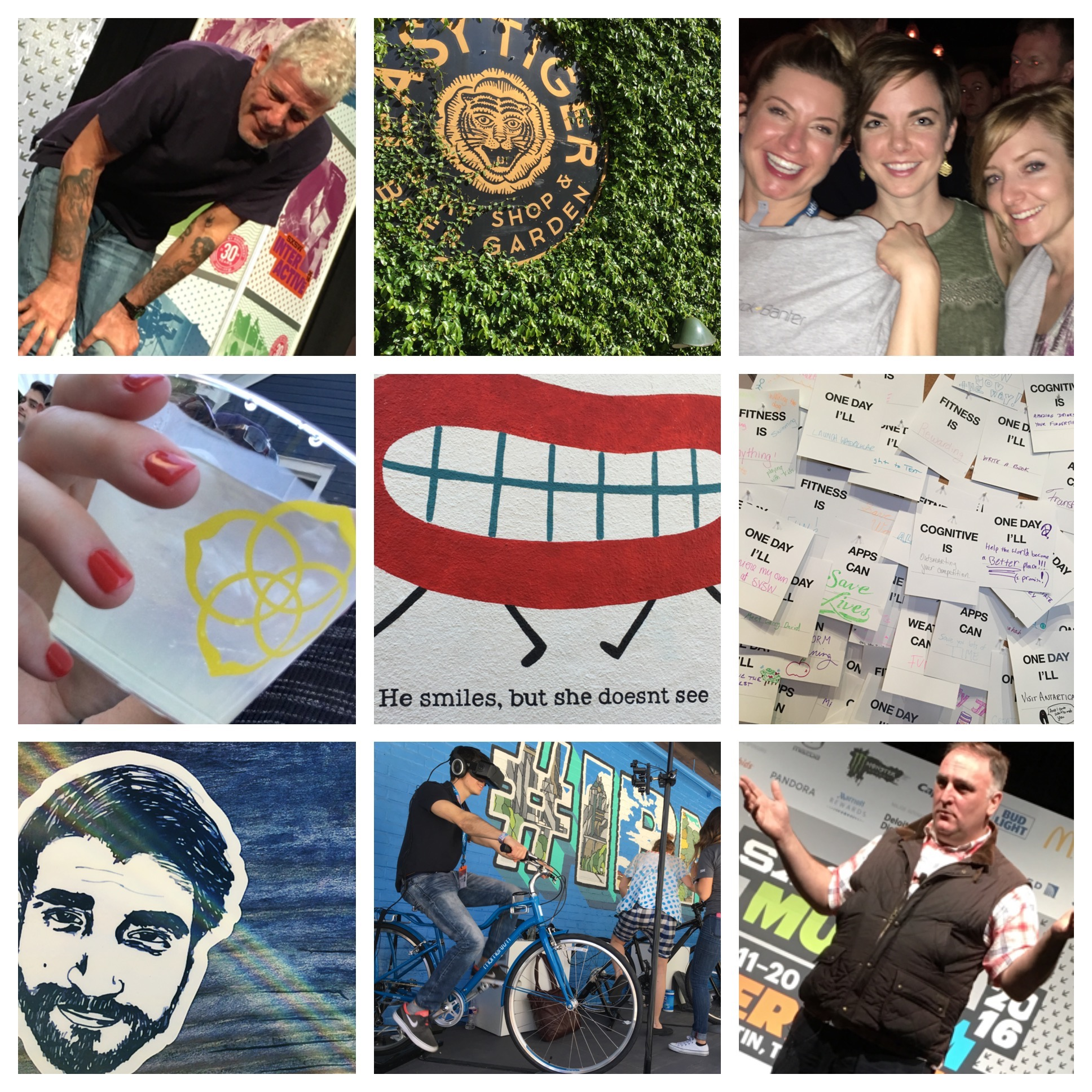 Collage of photos from South by Southwest festival, including a picture of Anthony Bourdain.