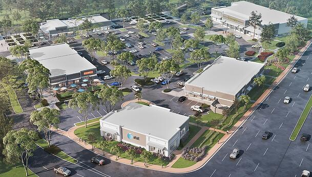 Overhead rendering of shopping center.