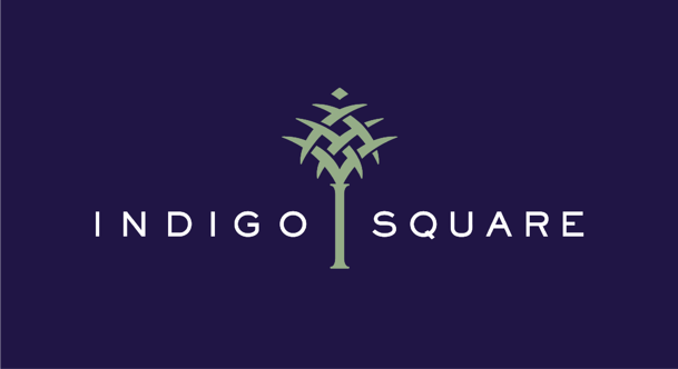 Indigo Square logo with a palm tree.
