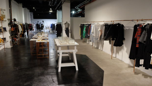 Clothing and jewelry on display inside Flying Solo.