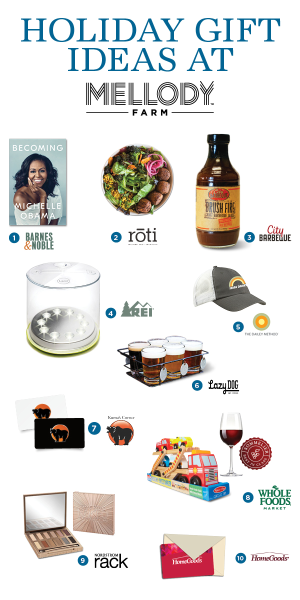 Holiday gift ideas from Mellody farm including City Barbeque sauce and a Home Goods giftcard