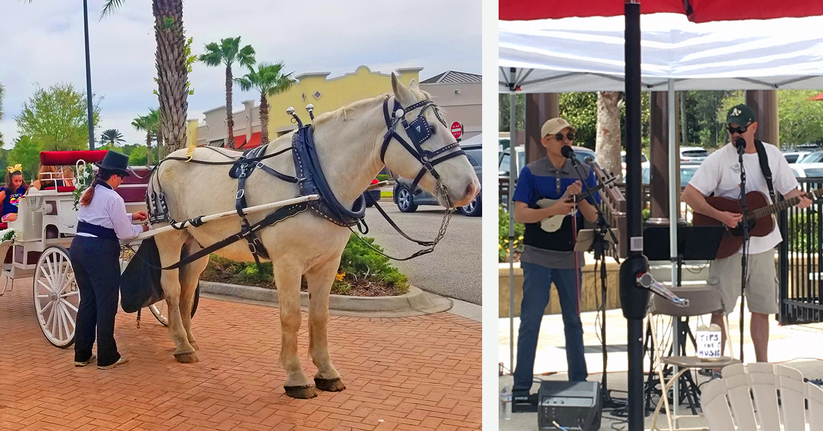collage of horse and carriage ride and local band