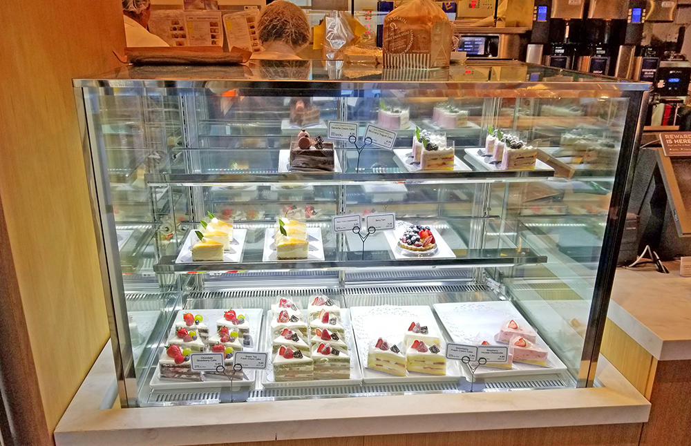 bakery display case inside of Paris Baguette