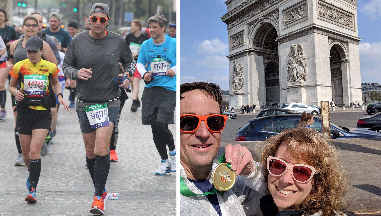 Dale running the Paris Marathon