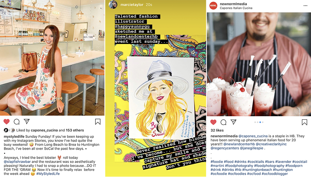 Social media post screenshots from influencer attendees