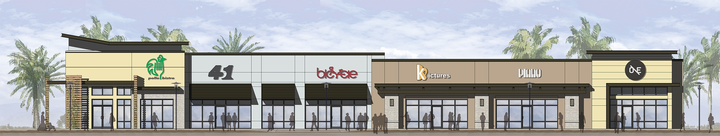 Rendering of a variety of storefronts