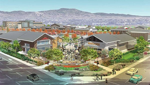 Rendering of The Village at Tustin with mountains in the distance.
