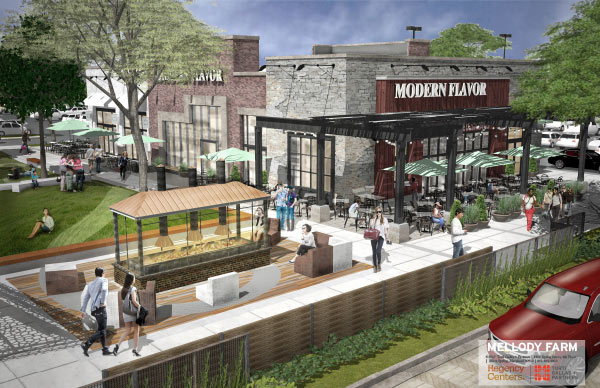 Rendering of a Modern Flavor storefront in Mellody Farm.