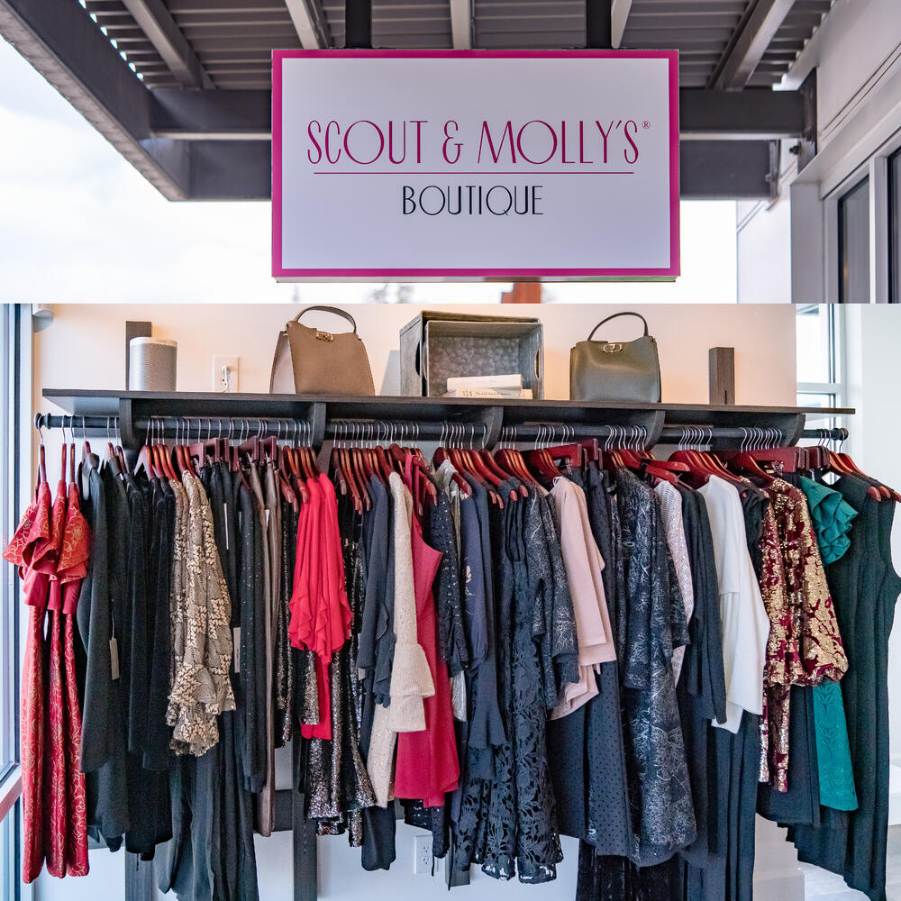 rack of clothes in Scout and Molly's boutique