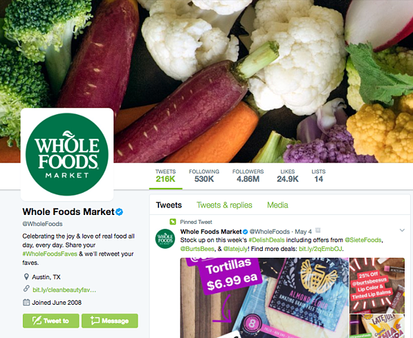 Whole Foods Market's Twitter page.