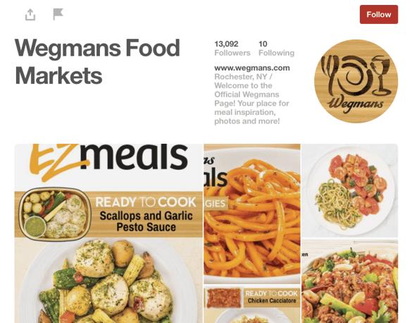 Wegmans Food Markets' Pinterest page.