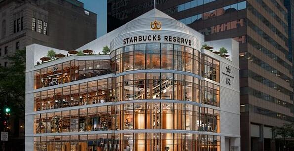 Rendering of a four-story, all-glass Starbucks.