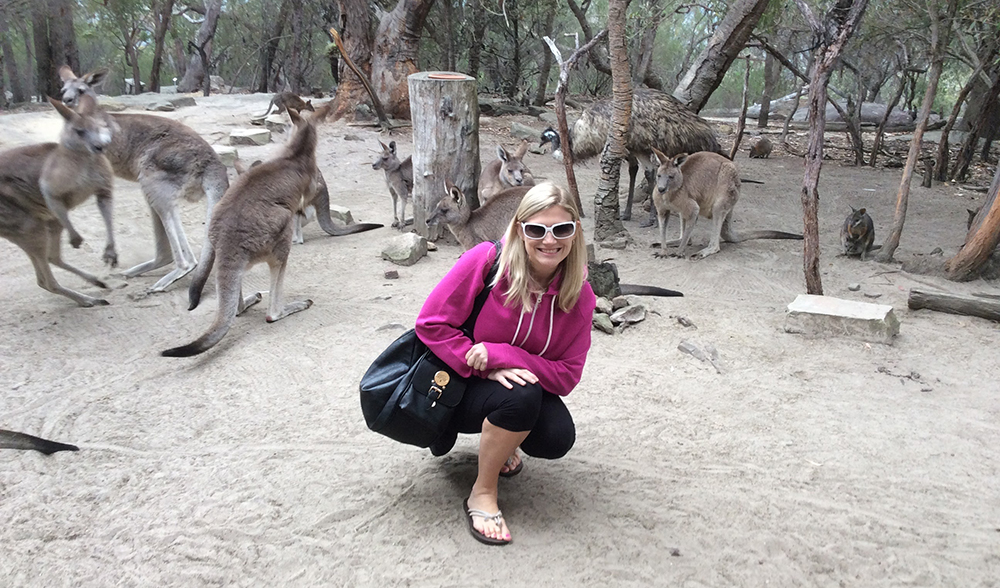 Susan Novak with Kangaroos while in Australia