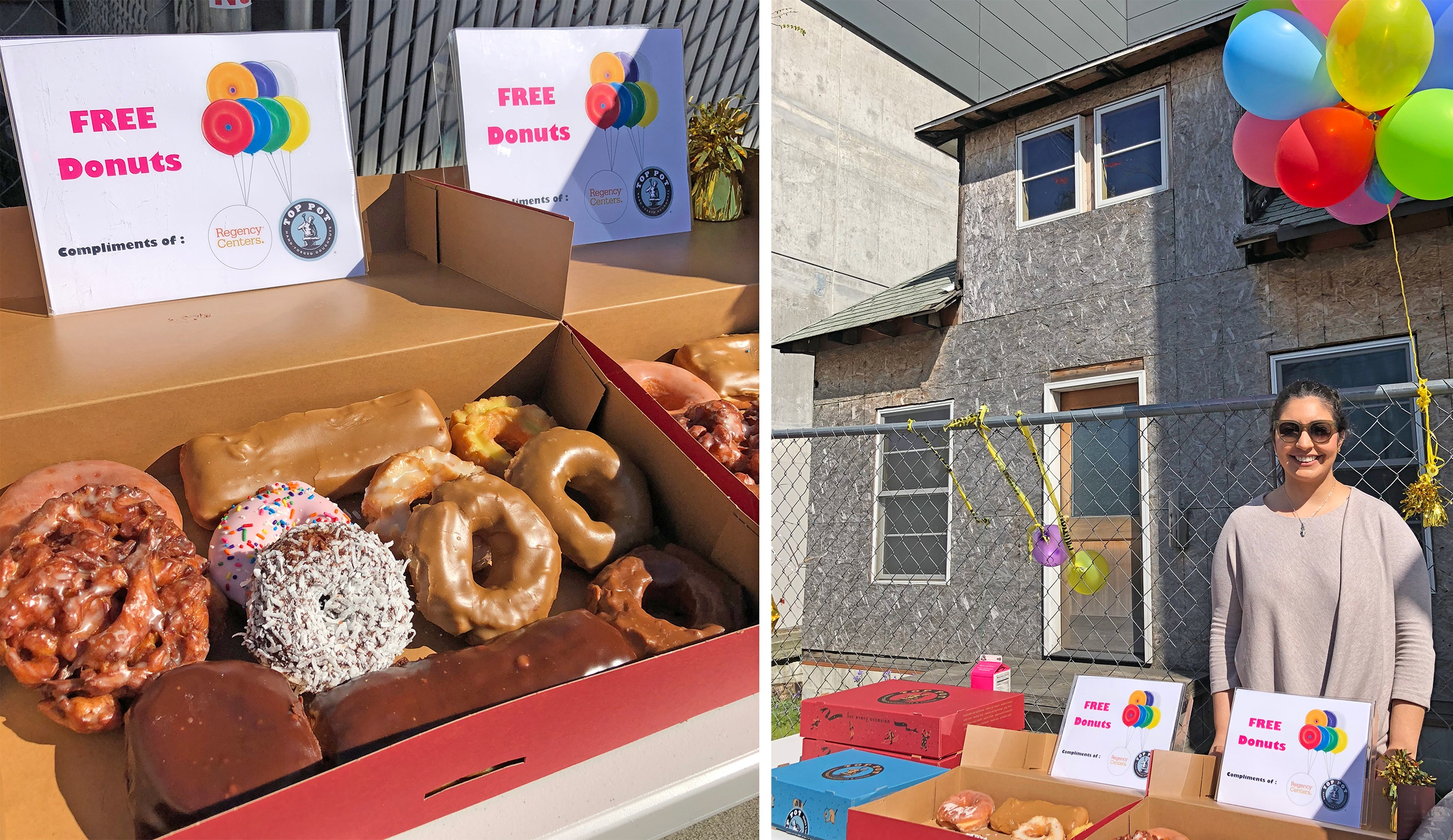 Images of free donuts on display at the event.
